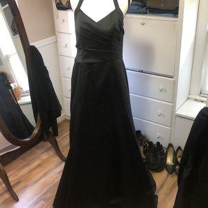 Black Prom Dress. Halter, fit n flare, train